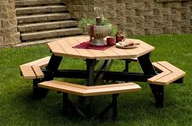 Plans For Building Picnic Table Bench by Berlin Gardens Octagon Picnic Table From Dutchcrafters Amish Furniture