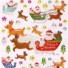 cute santa claus reindeer sleigh star christmas glitter stickers