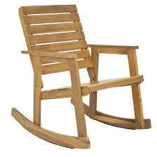 Patio Folding Chair by Shop Safavieh Alexei 1 Count Teak Wood Patio Rocking Chair With At