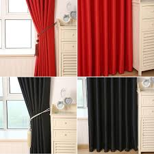 solid heavy thick panels foam blackout black red grommet window curtain scarves