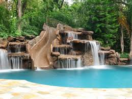 rock waterfalls for pools blue fountain pools rock waterfall slide pools