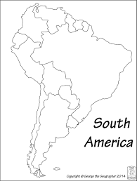 North America South America Map by Outline Base Maps