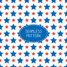 Blue Flag With Stars Geometric Patriotic Seamless Pattern With Red White Blue Stars