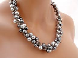 chunky pearl crystal necklace images Grey pearl necklace chunky wedding necklace crystal and jpg