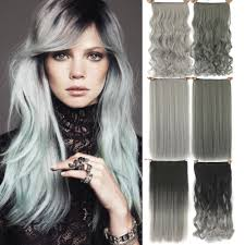 Cheap Thick Clip In Hair Extensions by 60cm Grey Hair Extension Heat Resistant Synthetic Hair Clip In