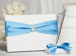 wedding guest book and pen set fleur de lis ribbon wedding guestbook and pen set custom