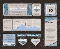 Wedding Invitations And Rsvp Cards Marine Wedding Invitation Set With Rsvp Card Ticket To A Sea