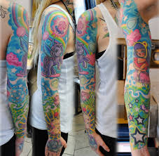 awesome sleeve tattoo full sleeve in colors by gettattoo deviantart com on