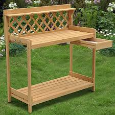 Outdoor Potters Bench Yaheetech Wood Potting Bench Outdoor Garden Patio Planting Gardening W