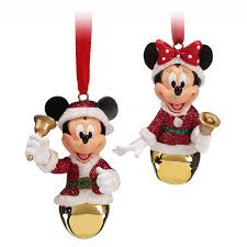 santa mickey and minnie mouse bell ornament set shopdisney