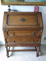 antique oak drop front bureau with barley twist legs 1920 u0027s in