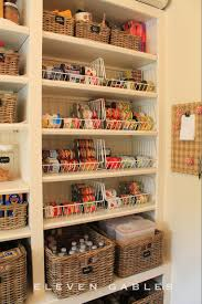 shallow pantry shelves with wire baskets for multiples of the same