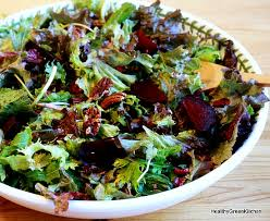healthy green kitchen roasted beet salad with greens and candied pecans