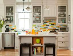 kitchen backsplash colors want bold colors install blue glass subway tile backsplash