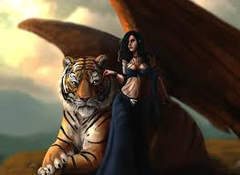 tigers brown haired wings magical animals