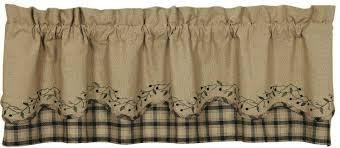 Primitive Country Kitchen Curtains by Blackberry Vine Primitive Curtain Valance Black Country Scalloped