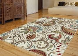 Nature Area Rugs Ivory Transitional Machine Made Leaves Scroll Nature Area Rug