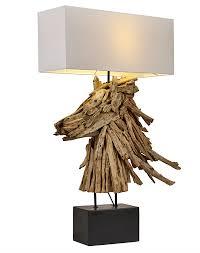driftwood horse lamp