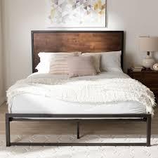 industrial black metal and brown wood platform bed by baxton