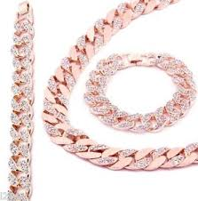 rose gold chain necklace images Rose gold finish iced out hip hop cz chain bracelet mens miami jpg