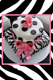 zebra pink and black baby shower fondant cake my confections