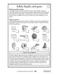 solids liquids and gases worksheets u0026 activities
