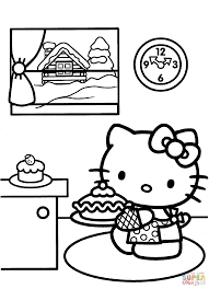 hello kitty prepares for christmas coloring page free printable