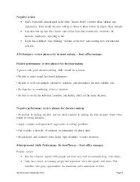 Front Desk Job Description For Resume by Front Office Manager Performance Appraisal