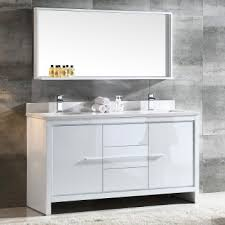 60 Inch White Vanity Fresca Allier 60 White Modern Sink Bathroom Vanity W Mirror