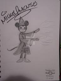 sorcerer mickey sketch w mickey mouse signature by shadowgirl7