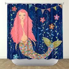 The Little Mermaid Shower Curtain Mermaid Shower Curtains Shower Curtains With Pink Mermaids
