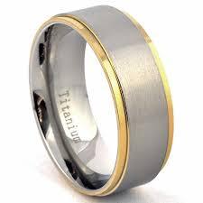 brushed gold wedding band 14k gold plated two tone titanium wedding ring