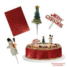 Christmas Cake Decorations Toppers by Vintage Christmas Cake Decorations Topper U0026 Ribbon Merry Xmas