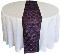 eggplant colored table linens eggplant satin rosette wedding table runners sale