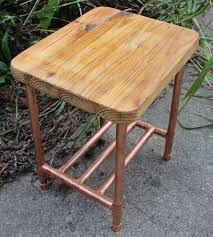 reclaimed 2x4 u0026 copper pipe side table with shelf features