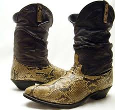 dingo boots s size 11 mens vtg dingo snakeskin snake skin python slouch cowboy