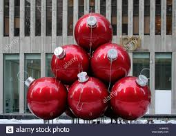 large christmas baubles outside the chase bank 6th ave manhattan