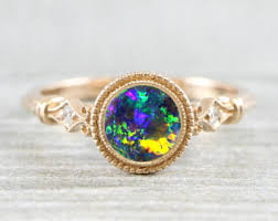 black opal engagement rings black opal engagement ring etsy