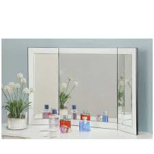 folding dressing table mirror tri fold mirror white glass frame for dressing table or console