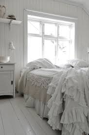 Elegant White Country Bedroom Ideas White Bedroom With Contrast Of Natural Bed Cover Lots Of Ruffles