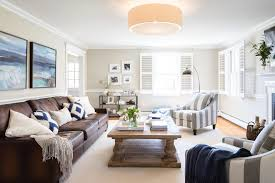 Living Room Brown Leather Sofa Brown Leather Living Room Transitional With Coastal Cottage
