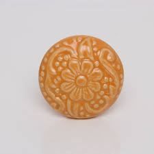 ceramic revival orange flower knob vintage cabinet knobs pinterest