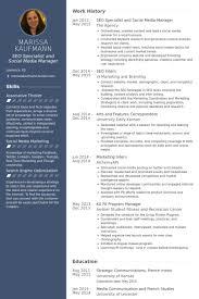 Social Media Manager Resume Sample by Seo Resume Samples Visualcv Resume Samples Database