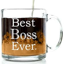 amazon com best boss ever glass coffee mug 13 oz unique
