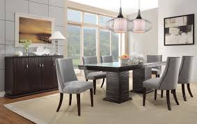 furniture modern dining room with pendant lighting and