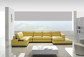 Modern Yellow Sofa Yellow Leather Sectional Sofa Tos Lf 2029 Yel
