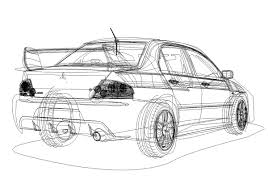 mitsubishi lancer drawing mitsubishi evo lancer vector on behance