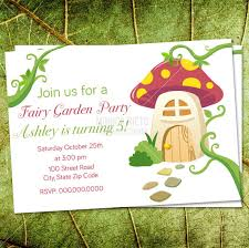 fairy tea party birthday invitation mushroom inviation woodland