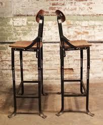 Vintage Metal And Wood Cafe Chair Pair Of Industrial Domore Metal And Wood Adjustable Vintage Bar