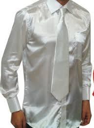 daniel ellissa mens white shiny satin dress shirt tie set